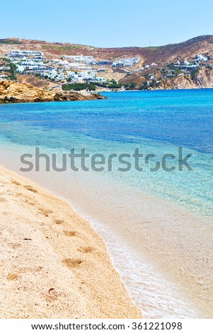 in      greece  the mykonos island rock sea and beach    sky - stock photo