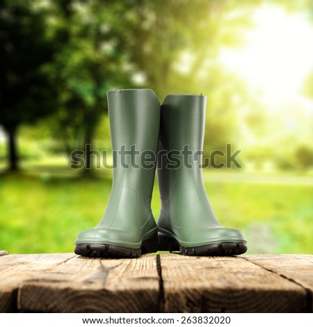 in green wellies on an old table in the garden - stock photo