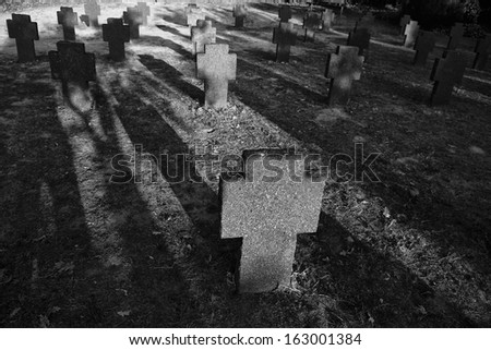 In it are buried the soldiers, airmen and Marines German World War I and World War II that reached the Spanish coasts and land due to wrecks or the downing of his aircraft. - stock photo