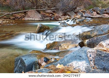 In late autumn, the water flows, skirting the rocks across the river of the Virgin in Zion National Park in the United States, something which is yellowed and fallen leaves.