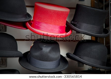 in london old red hat and black  the  fashion shop - stock photo