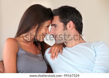 In love couple looking at each other - stock photo