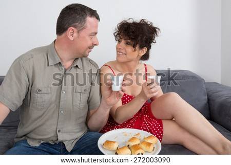 In love couple looking at each other - love concept - stock photo