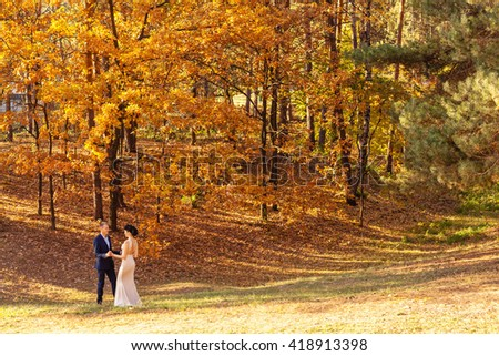 In love couple walking in autumn park. Bride and groom walking in autumn park.