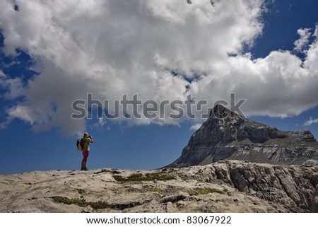 In love with the mountains in Pyrenees - stock photo
