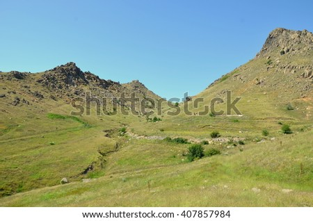 In Macin Mountains - some of the oldest mountains in Europe. - stock photo