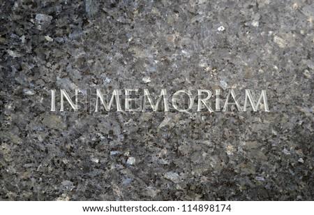 In Memoriam Inscribed In A Marble Grave Stone - stock photo