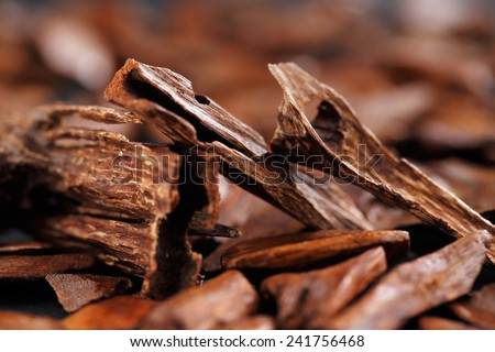 In most Arab countries bukhoor is the name given to scented bricks or wood chips. These scented chips or bricks are burned in incense burners to perfume the home and clothing with a rich thick smoke - stock photo