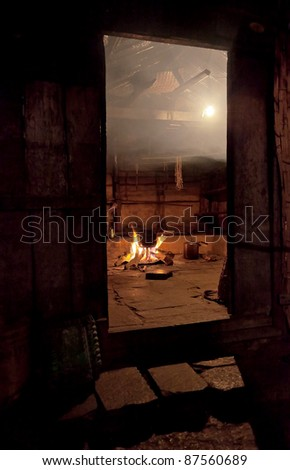 In nepal the kitchen cooked dinner - Himalayas - stock photo