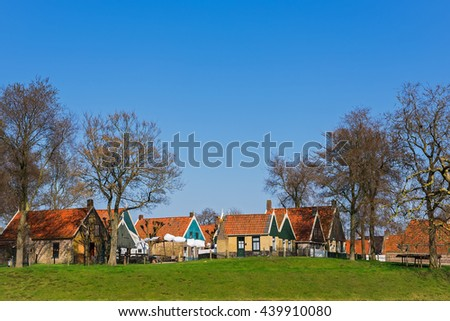 In open-air museum on a sunny  spring day, Enkhuizen, The Netherlands - stock photo