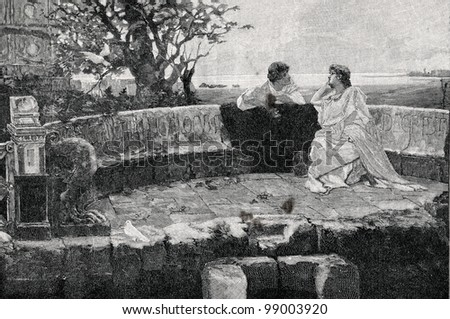 """In Pompey. Engraving by Pavlov  from picture by  Seleznev. Published in magazine """"Niva"""", publishing house A.F. Marx, St. Petersburg, Russia, 1899 - stock photo"""