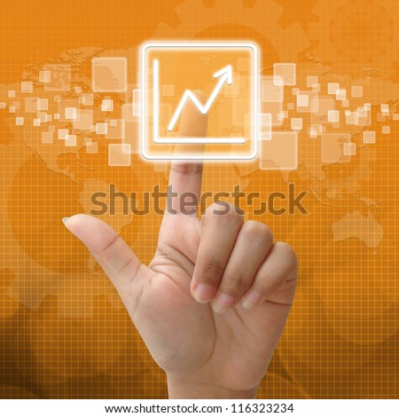In press Business Graph icon for business concept - stock photo