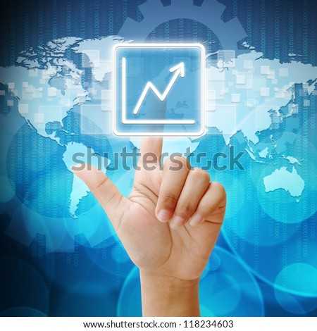 In press Business Graph icon on business background blue color