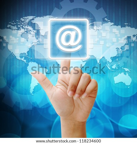 In press mail icon on business background blue color - stock photo