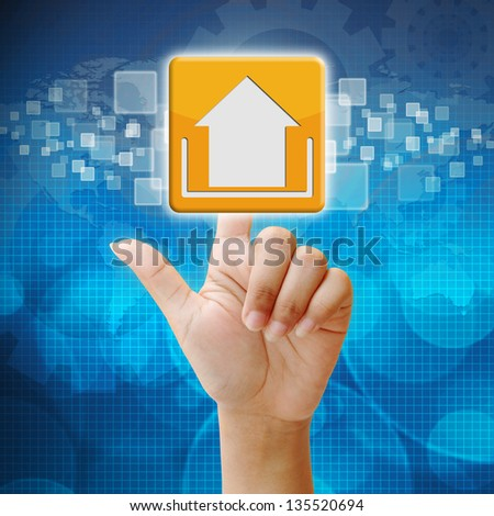 In press upload icon on touch screen interface