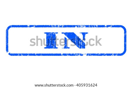 IN rubber blue stamp text on white background - stock photo