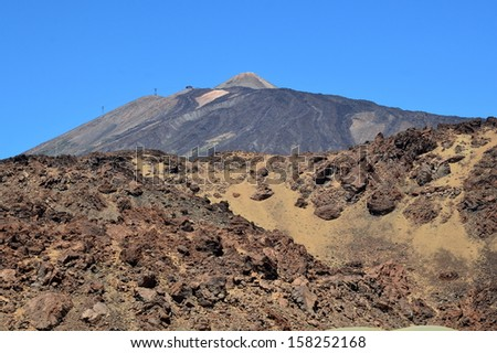 in Spain on the Canary island the national park of Teide constitute a varied assembly of volcanic landscapes, the pic of Teide is 3718 meters at the highest point, the park is classified by UNESCO. - stock photo