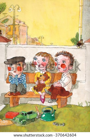 in summer the children sit on a bench,watercolor,children's book illustration