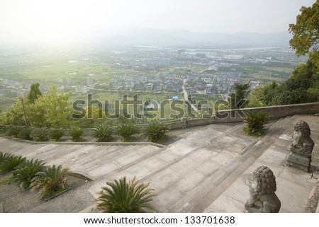 In temple stone lions villages panorama - stock photo