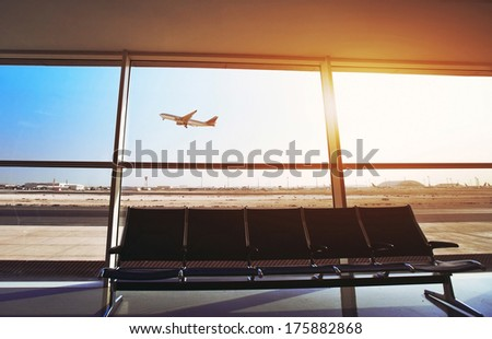 in the airport - stock photo