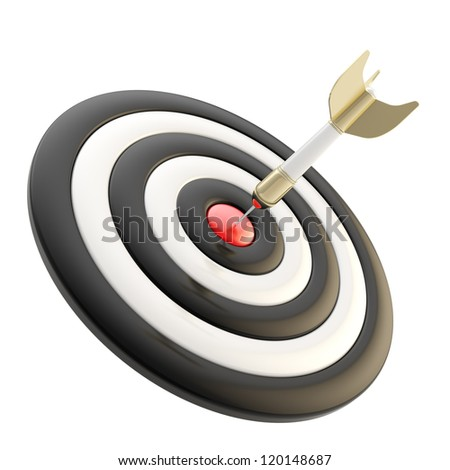 In the bull's eye: target aim glossy rainbow colored mark with dart in the center