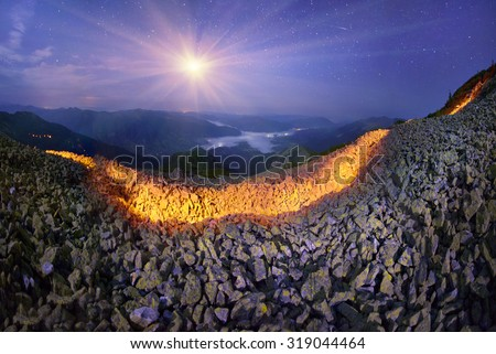 In the Carpathians, the remains of the fortifications of the First World War - lined with sandstone parapets and walls, on top of the ridge, where the line of defense and were fighting. tourists roost - stock photo