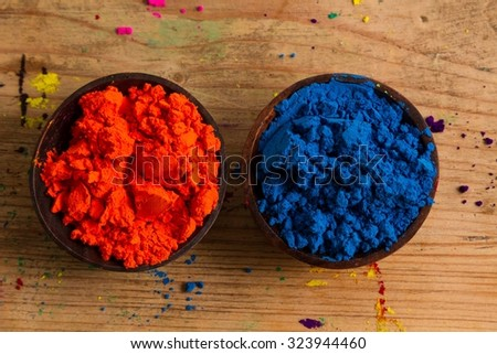 In the colour wheel, complementary colours sit opposite one another: the primary blue and the secondary orange. - stock photo