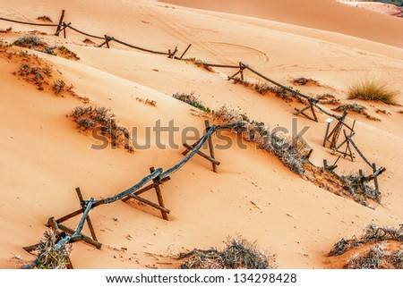 In the Coral Pink Sand Dune National park. Utah. USA - stock photo