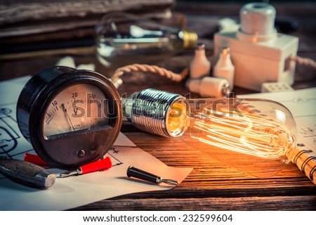 In the Edison's laboratory - stock photo