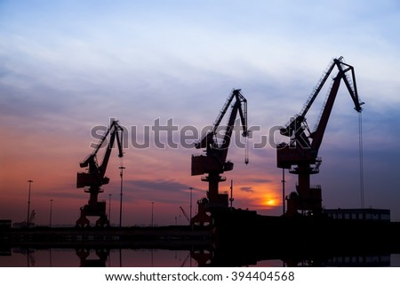In the evening, portal crane in freight terminal