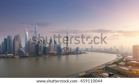 In the evening, the Chinese Shanghai city skyline