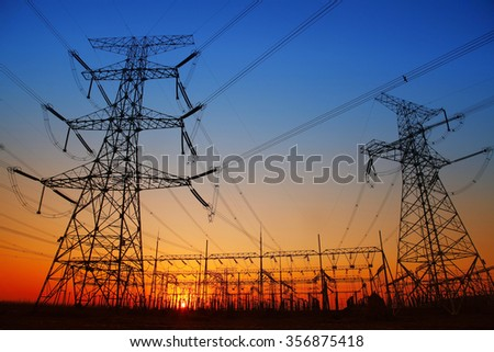 In the evening, the outline of substation, it is very beautiful - stock photo