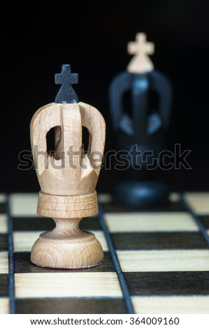 In the face of white and black chess king