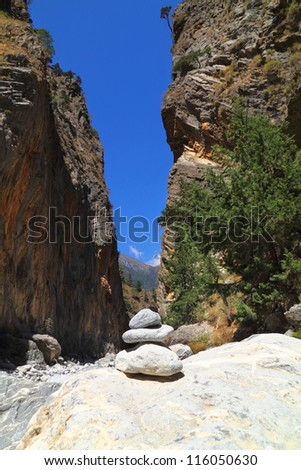 In the famous Samaria Gorge at Crete Island in Greece - stock photo