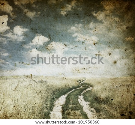 in the fields, old grungy illustration - stock photo