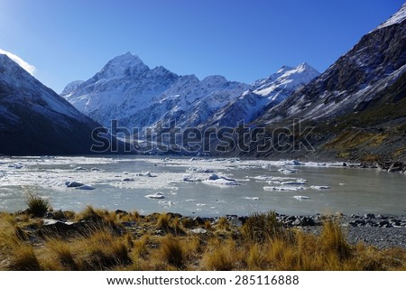 In the footsteps of Lord of the Ring: Aoraki Mount Cook New Zealand - stock photo