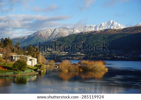 In the footsteps of Lord of the Ring: Lake Wakatipu Queenstown New Zealand - stock photo