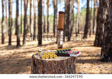 In the forest on the stump are located objects hunting knife weapons ammo Matches - stock photo