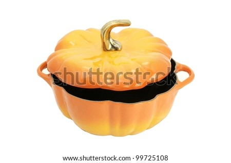 in the form of a large  pumpkins on white background