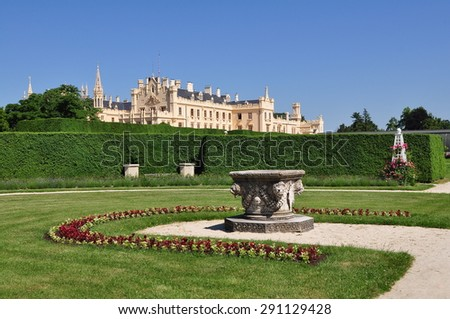 in the garden,mLednice,czech republic - stock photo