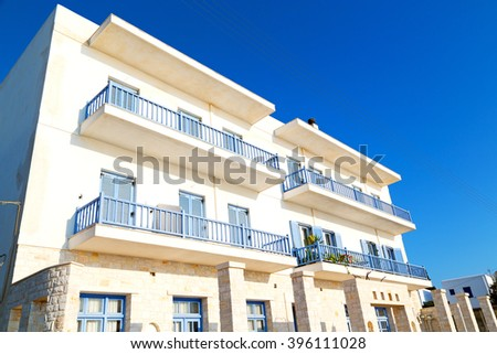 in the greece island window and door white  colors  old architecture  - stock photo