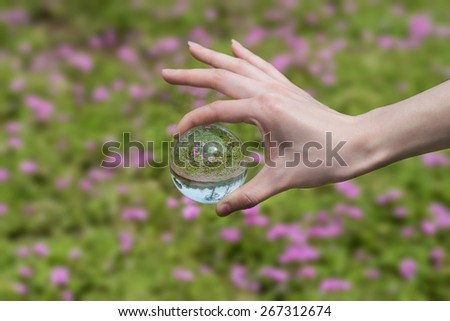 In the hands of the crystal ball - stock photo