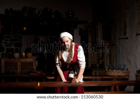 In the medieval restaurant - stock photo