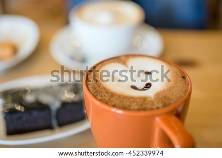 In the morning with coffee smiling - stock photo