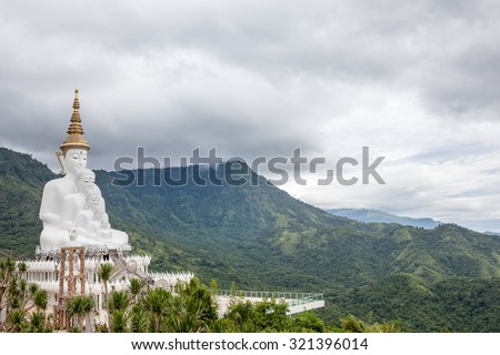 In the mountains of Khao Klo is a new five white Buddha appearing close to each other - stock photo