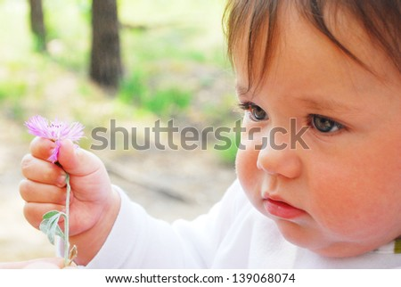 In the summer, in the woods little cute girl holding a flower, a bright sunny day.