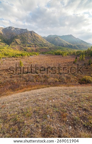 In the valley of the mountain river. Eastern Sayan mountains. The Landscape - stock photo