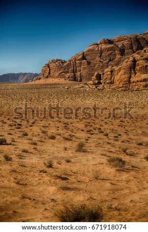 in the wadi rum desert of jordan  sand and mountain  adventure destination