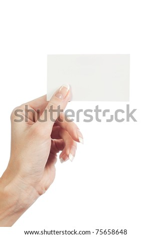 In the women 's hand card on a white background - stock photo