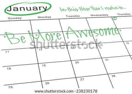 in this new year I resolve to against january calendar - stock photo